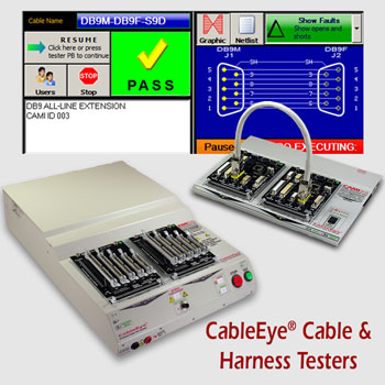 Cable Tester and Harness Tester for Pass/Fail check or diagnostics of continuity (opens, shorts, miswires), intermittent connections, contact and isolation resistance, embedded resistors and diodes.