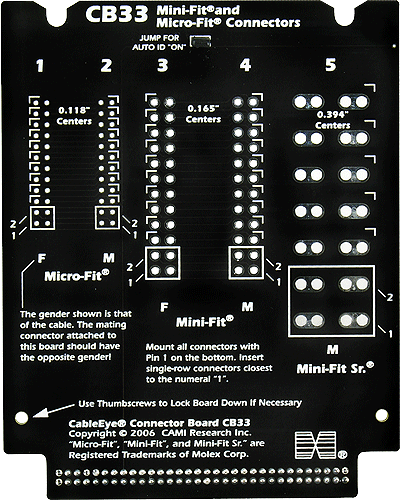 Molex Min-Fit and Micro-Fit Test Board