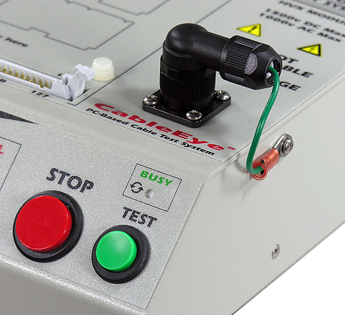Image of remote control switch attached to CableEye HiPot tester.