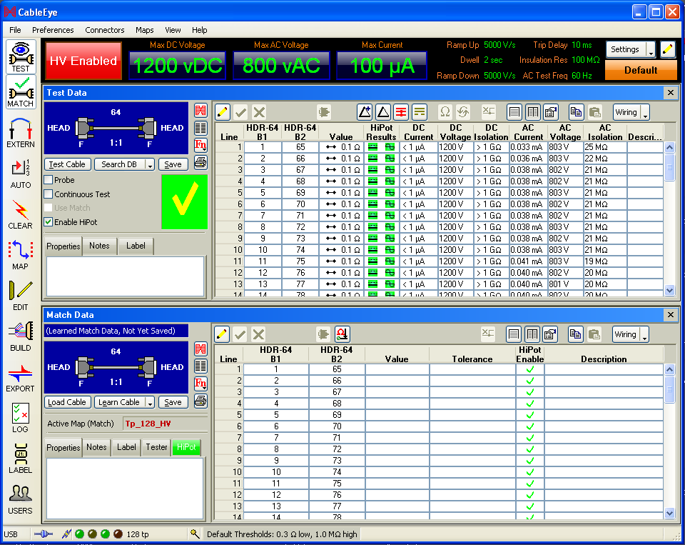 HVX Software Control Panel displaying HiPot test parameters and results.